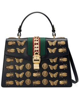 Sylvie Animal Studs Leather Top Handle Bag