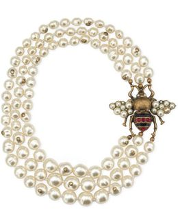 Glass Pearl Necklace With Bee