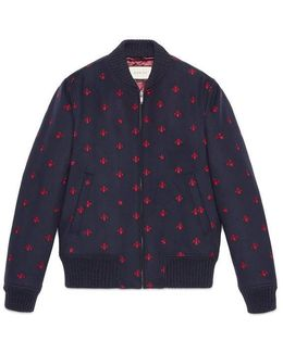 Wool Bomber Jacket With Bees And Stars