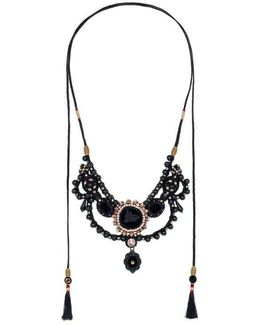 Velvet Necklace With Glass Pearls