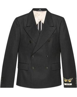 Embroidered Striped Wool Jacket