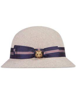 Felt Hat With Striped Fabric Trim