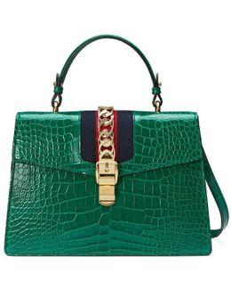 Sylvie Crocodile Top Handle Shoulder Bag