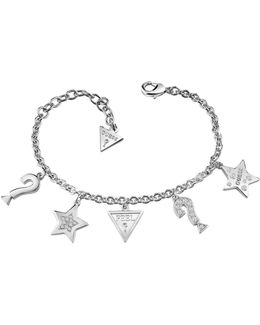 Feel Rhodium-plated Bracelet With 5 Charms