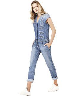 Cotton Denim Logo Jumpsuit