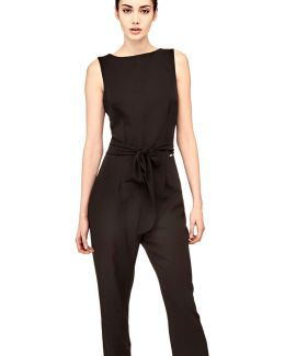 Jumpsuit In Fluid Fabric With Belt