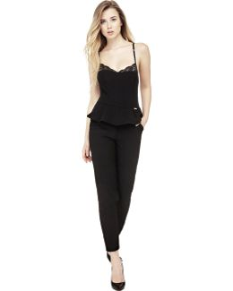 Peplum Jumpsuit With Lace Insert
