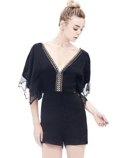 Lace-sleeve Jumpsuit With Studs