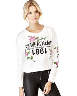 Floral Embroidery Print Sweatshirt