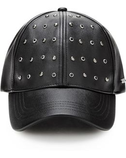 Coated-look Hat With Studs