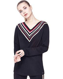Sweatshirt With Striped Neckline
