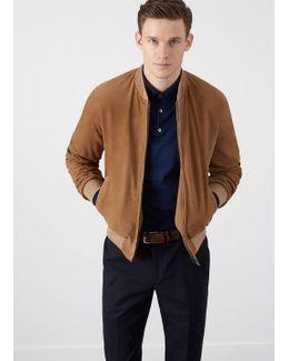 Perforated Suede Zip Up Jacket