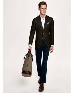 Wool Cashmere Texture Flap Blazer