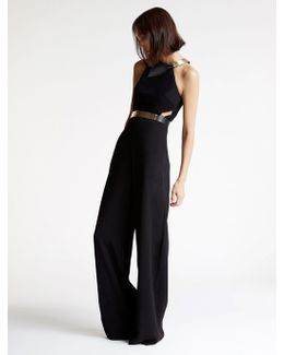 Strapless Belted Crepe Jumpsuit
