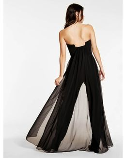 Crepe Jumpsuit With Georgette Overlay