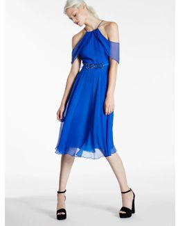Cold Shoulder Chiffon Dress With Hardware