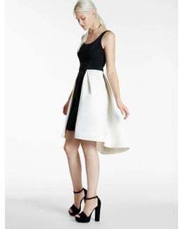 Color Blocked Satin Faille Dress With Cut Outs