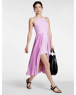 Crepe / Pleated Chiffon Combo Dress