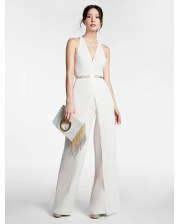 Belted Crepe Georgette Overlay Jumpsuit