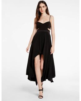 Hi Lo Crepe Dress With Cutouts