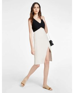 Colorblocked Structured Dress With Front Cut Out