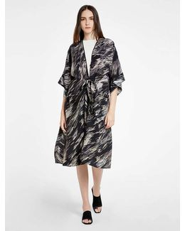 Printed Silk Kimono Cover Up Jacket