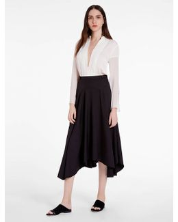 Silk Viscose Faille Midi Skirt
