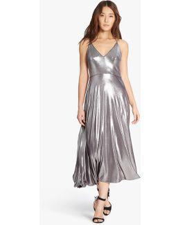 Metallic Jersey Midi Dress