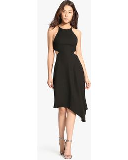 Crepe Dress With Chain Piping Cut Outs