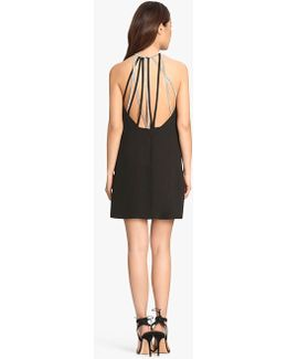 Crepe Mini Dress With Multi Chain Embellished Straps