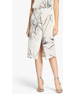 Printed Silk Wrap Skirt