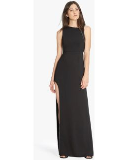 Chain Embellished Crepe Gown