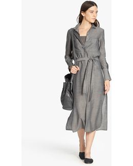 Maxi Shirtdress With Tie