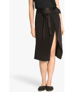 Faux Wrap Satin Back Crepe Skirt