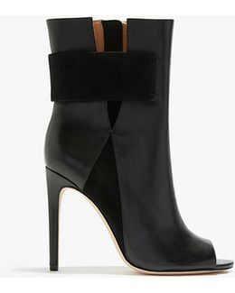 Alyssa Leather and Suede Combined Mid Calf Boots