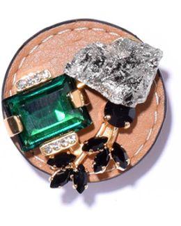 Semi-precious Brooch In Pyrite