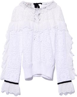 Lace Ruffle Sweatshirt In White