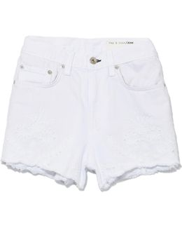 Justine Short In White Embroidery