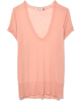 Short Sleeve Scoop Neck Pullover In Rose