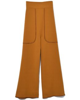 Cropped Wide Leg Trouser In Gold