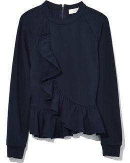 Ruffle Wrap Sweatshirt In Navy