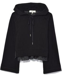 Filcoupe Bell Sleeve Combo Sweatshirt In Black