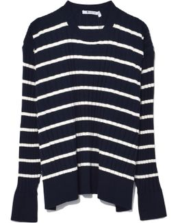 Relaxed Rib Oversized Sweater In Navy Stripe
