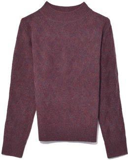 Mock Neck Sweater In Pink Multi