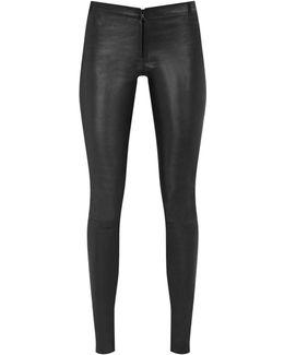 Front Zip Leather Leggings