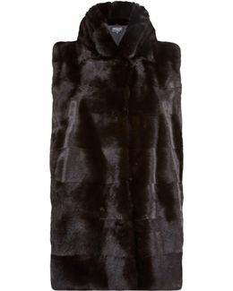 Mink Gilet With Stand Collar