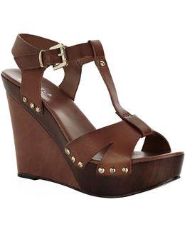 Katey Leather Wedge Sandal