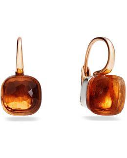 Large Nudo Madeira Quartz Rose Gold Earrings