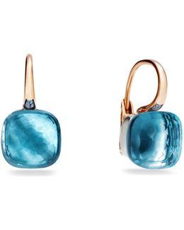 Large Nudo Blue Topaz Rose Gold Earrings