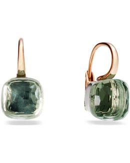 Large Nudo Prasiolite Rose Gold Earrings